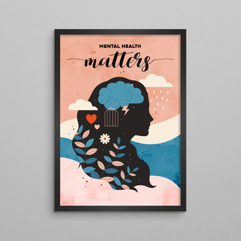 Mental Health Matters Illustration Poster