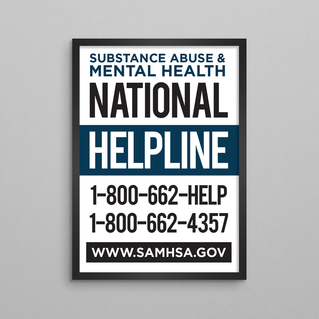 Substance Abuse & Mental Health National Helpline Poster