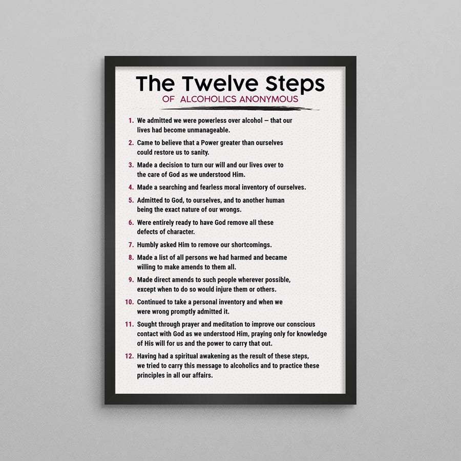 The 12 Steps of AA or NA Poster - 3 Styles