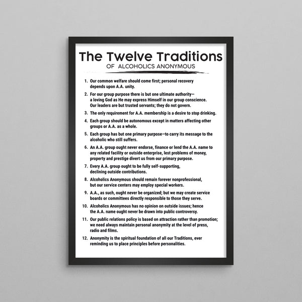 The 12 Traditions of AA or NA Poster - 3 Styles