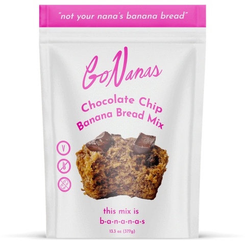 A package of GoNanas Chocolate Chip Banana Bread Mix.