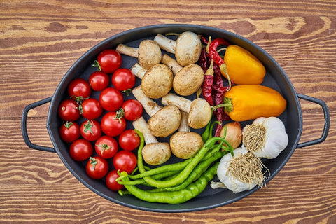 Vegetables in a dish.