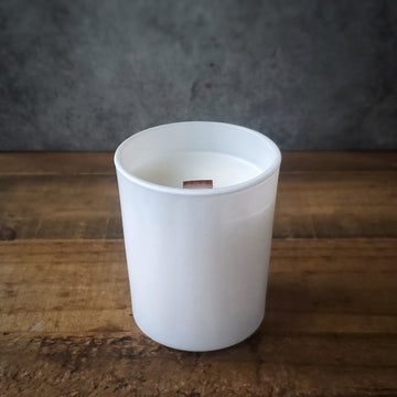 Matte White Wooden Wick Candle | 5.5 oz.