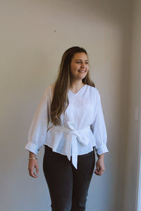 Linen Blouse with tie