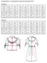Load image into Gallery viewer, Dua Blouse & Dress Finished Garment Measurements