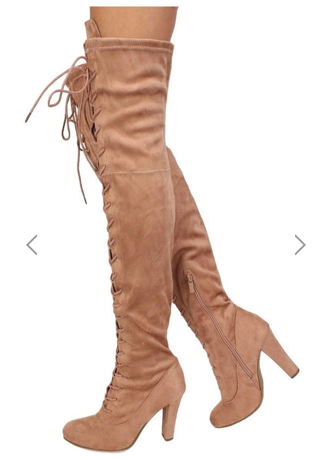 Dusty Rose suede lace tie over the knee boot