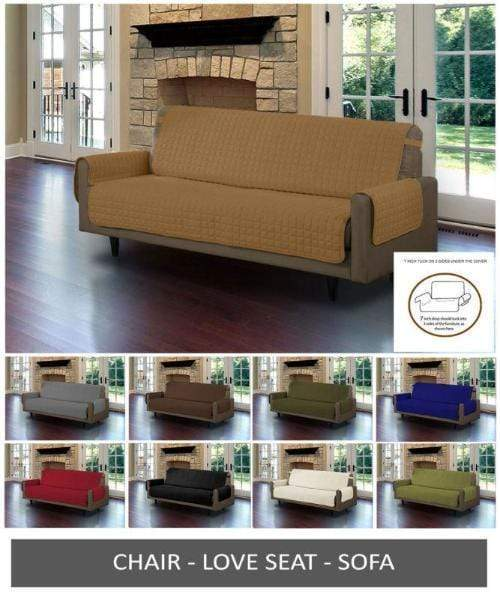Sofa Reversible Slipcover Furniture Protector Quilted Cover w/ Tucks & Strap - Pets Watching