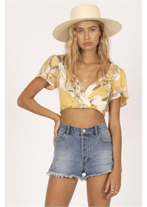 BEACH BABY SHORT SLEEVE CROP  WOVEN TOP-GGR