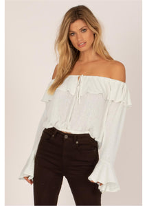 BELLA BABE  SHOULDER L/S KNIT TOP-CBL