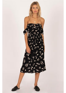 REGENCY MIDI WOVEN DRESS-BLK