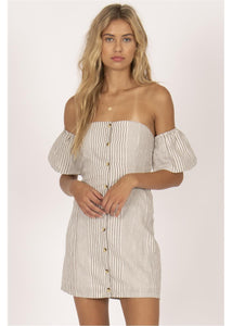 ISLAND SKIES OFF SHOULDER  WOVEN DRESS-GRY