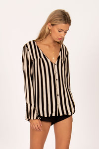 ALWAYS SOMETHING LONG SLEEVE BUTTON UP WOVEN-BLK