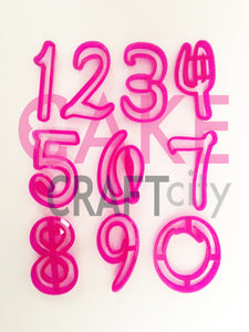 Numbers in a Funky script style font. For Cake Decorating icing Fondant