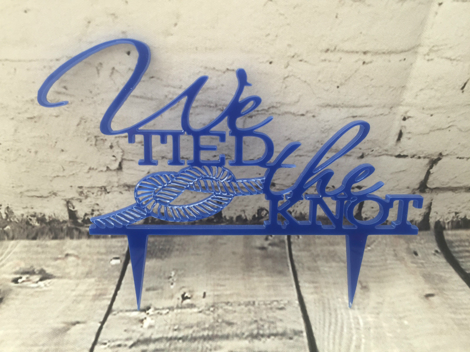We Tied the Knot Proposal Wedding Engagement Cake Topper Mirror Acrylic nautical