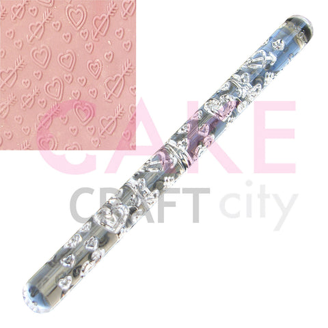 Cupid hearts Love effect Texture Embossing Acrylic Rolling Pin cake decorating