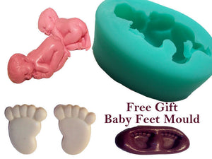 Silicone Mould Sleeping Baby cake topper decoration decorating Feet Mould