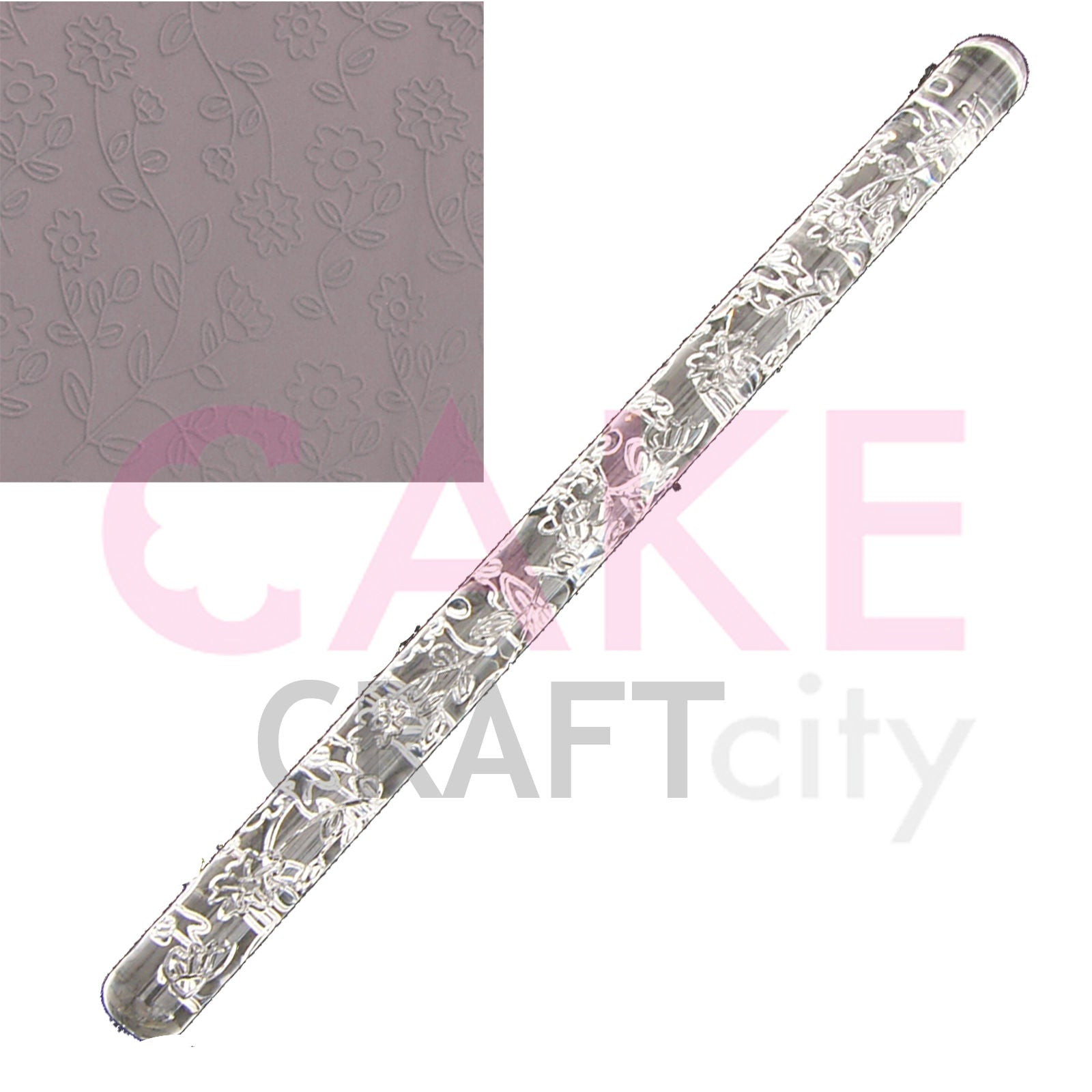 Large Flower Vine effect Texture Embossing Acrylic Cake Decorating Rolling Pin