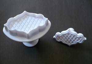 PLAQUE EMBOSSING PLUNGER CUTTER TRELLIS LATTICE QUILTED CAKE DECORATING fondant