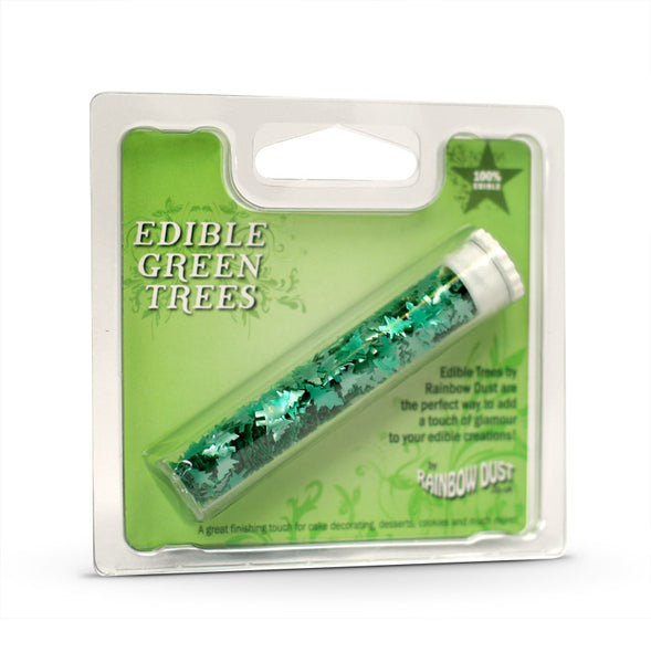Rainbow Dust Edible  Shapes - GREEN TREES