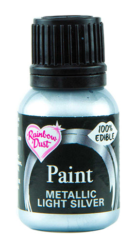 Rainbow Dust Metallic-Pearlescent Edible Food Paint - Light Silver
