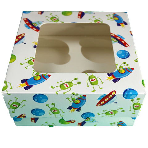 10 PACK imPRESSed® Space Themed Cupcake Boxes box for 4 Cupcakes with Window (White)