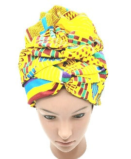 African Inspired Satin Bonnet Headwrap, Satin Headwrap, Patterned Head Scarf, Gift for Her - New Gen Crafts