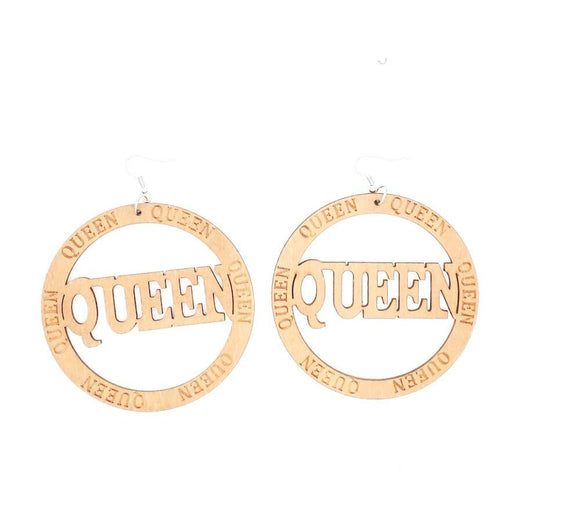 African Queen Inspired Wooden Earrings, Wood Earrings, Dangling Earrings, Black Pride Earrings - New Gen Crafts