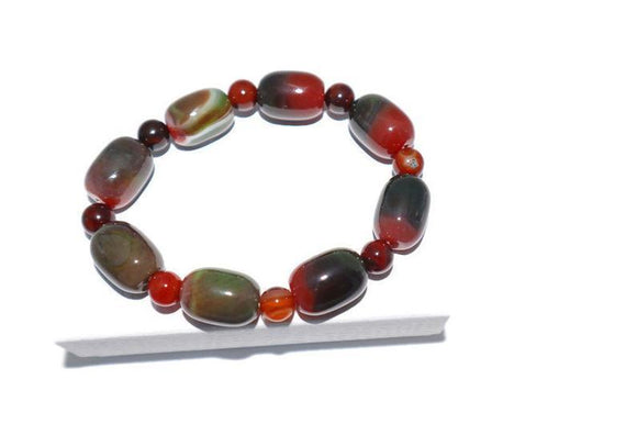 Agate stretch bracelet, Red crackled agate beads,Green moss agate bracelet, Natural gemstone stretch bracelet, Gift box available - New Gen Crafts