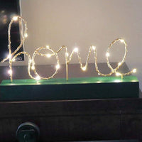 Wood sign with lights and home letter word | New Gen Crafts