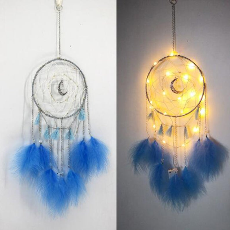 Led light moon blue feather dream catcher | New Gen Crafts