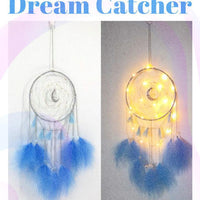 Led light moon blue feather dream catcher