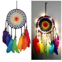 Rainbow multi color beaded dream catcher with handmade feathers | New Gen Crafts