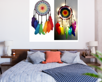 Rainbow multi color beaded dream catcher with handmade feathers