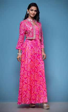 Bandhej Georgette Suit in Pink color with Gota Patti work.