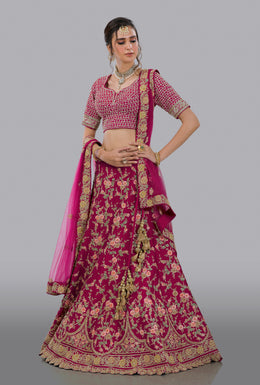 Faux Dupion Lehenga in Pink color with Zari, Resham, Sequins, Velvet Patch, Hem Round Cut Style work.