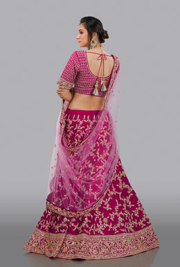 Faux Dupion Lehenga in Pink color with Zari Embroidery, Resham Embroidery, Sequins Embellishment work.