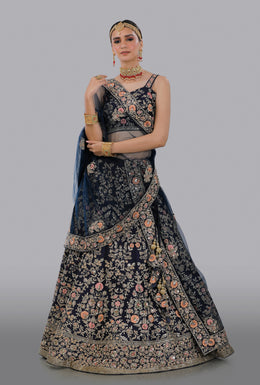 Faux Dupion Lehenga in Dark Blue color with Zari Embroidery, Resham Embroidery, Sequins Embellishment, Cut Dana work.