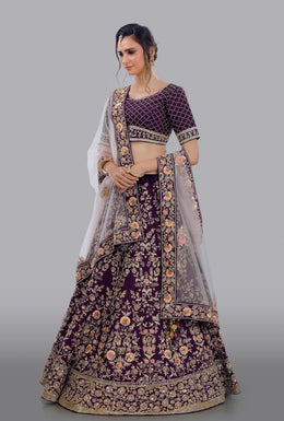 Faux Dupion Lehenga in Purple color with Zari Embroidery, Resham Embroidery, Sequins Embellishment, Cut Dana work.