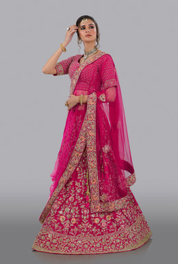 Faux Dupion in Pink color with Zari Embroidery, Resham Embroidery, Sequins Embellishment, Cut Dana work.