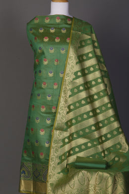 Chanderi Unstitched Suit in LightGreen color.