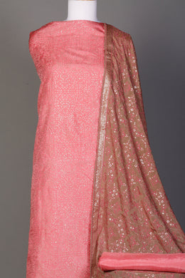 Silk Unstitched Suit in Pink color with Aari, Sequins, Thread work.