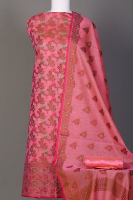 Chanderi Unstitched Suit in Pink color.