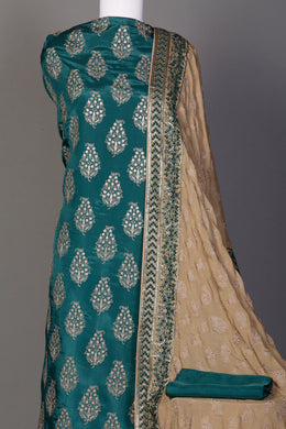 Silk Unstitched Suit in Dark Green color with Aari, Sequins, Thread work.