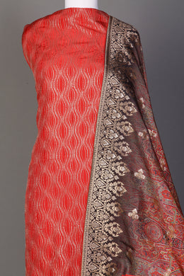 Silk Unstitched Suit in Red color with Aari, Digital Print, Sequins, Thread, Zari work.