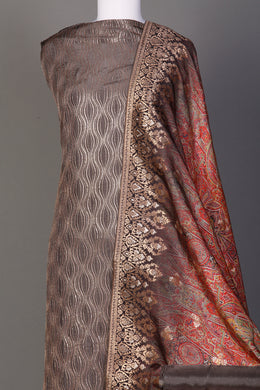Silk Unstitched Suit in Grey color with Aari, Digital Print, Sequins, Thread, Zari work.