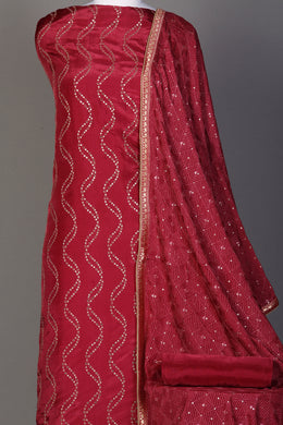 Silk Unstitched Suit in Red color with Aari, Sequins, Thread work.