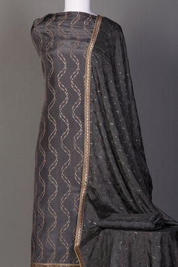 Silk Unstitched Suit in Grey color with Aari, Sequins, Thread work.