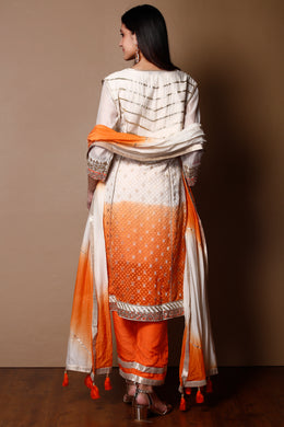 Suit in Orange color with Gota Patti, Pearl, Zardozi work.