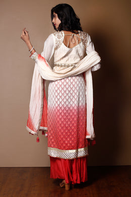 Suit in Pink color with Gota Patti, Pearl, Zardozi work.