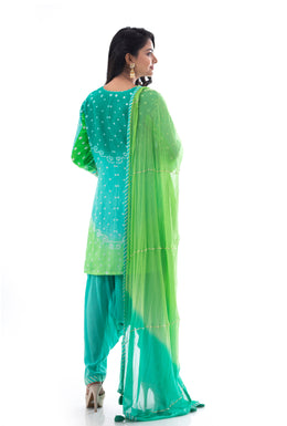 Suits in Dark Green color with Gota Patti, Aari, Mirror work.